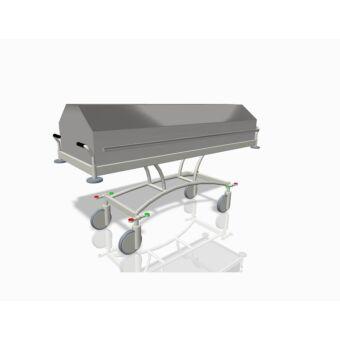 Halottszállító kocsi, fix magasságú íves alvázzál, 200/300 mm-es kerékkel