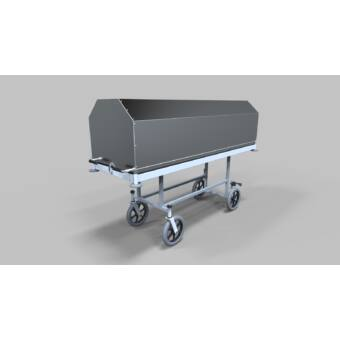 Halottszállító kocsi, fix magasságú egyszerű alvázzal, 200/300 mm-es kerékkel