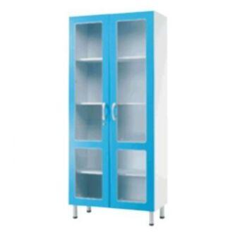 Orvosi üvegszekrény, 2 ajtós, 2 üvegezett ajtó - fából