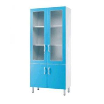 Fa üvegszekrény - 2 üveg, 2 bútorlap ajtós