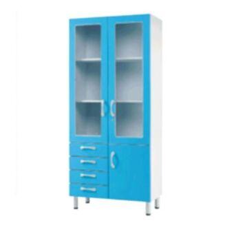 Fa üvegszekrény - 2 üveg ajtós, 1 bútorlap ajtós, 3 fiókos