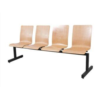Várótermi pad - fa ülőke 4 üléses, háttámlával