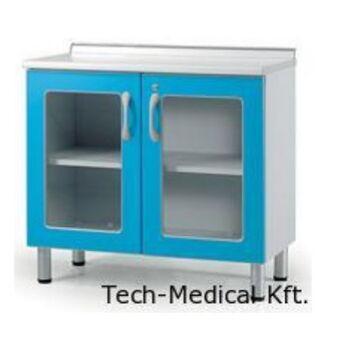 Orvosi üvegszekrény, alacsony magasság,  2 ajtós, 2 üvegezett ajtó - fából