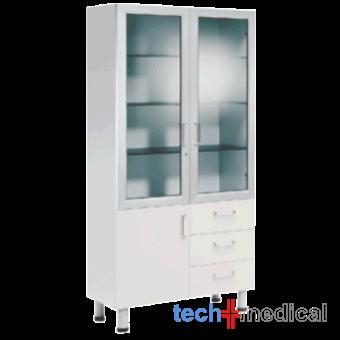 Orvosi üvegszekrény, 2+1 ajtós, 3 fiókos, 2 üvegezett ajtó - porfestett/rozsdamentes