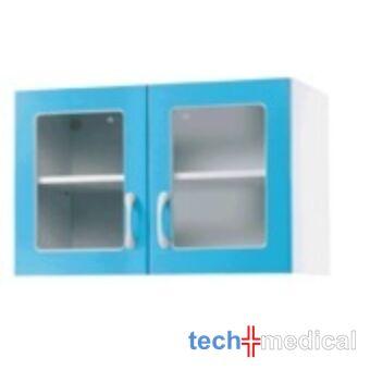 Orvosi üvegszekrény, falra szerelhető, 2 ajtós, 2 üvegezett ajtó - fából