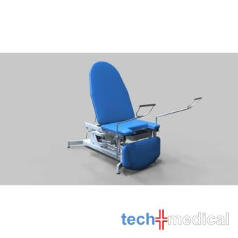 Nőgyógyászati vizsgálóasztal, 3 részes, elektromos/hidraulikus magasság állítású - rozsdamentes