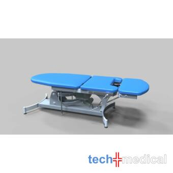 Proktológiai vizsgálóasztal, 3 részes, elektromos magasság állítású - rozsdamentes